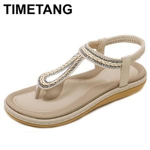 Image 1 - TIMETANG/Летняя обувь; Женские пляжные вьетнамки в богемном стиле; Мягкие сандалии на плоской подошве; Женская Повседневная Удобная обувь; Большие размеры 35 42