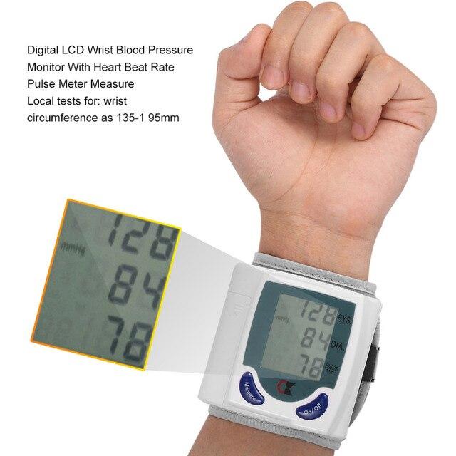 Digital LCD Wrist Blood Pressure Monitors Meter Health Care Heart Beat Rate Pulse Measure Meter Tonometer Sphygmomanometers