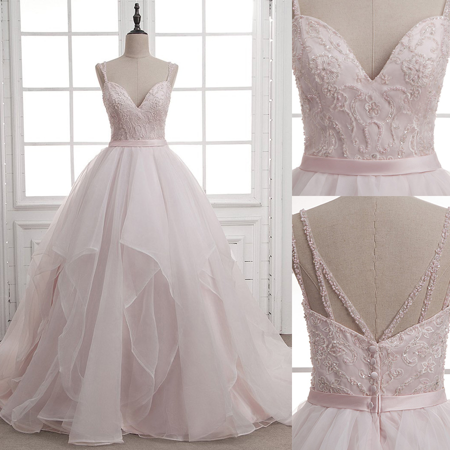 Princess Beaded Applique Spaghetti Straps Layer A-line Light Pink Wedding Dress With A Belt Straps Back Court Train Bridal Dress