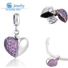 2016 Nuevas de La Manera Del Encanto Del Corazón Genuino 925 Marca de Joyería de Plata Pulseras pulsera argent 925 GW Fine Jewelry S050H10