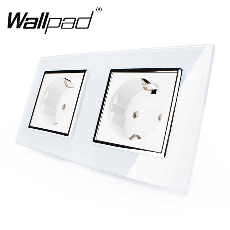 Hot Selling CE Approved Wallpad Luxury Tempered Glass EU European Standard 156*86mm Double 16A Plug EU Wall Socket with Claws eu au ce approved 2015 hot sale jn10 mini egg incubator with high quality