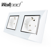 Hot Selling CE Approved Wallpad Luxury Tempered Glass EU European Standard 156 86mm Double 16A Plug