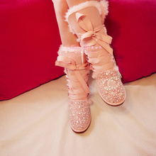 2015 pink winter handmade diamond pearl snow boots gaotong women's cotton-padded plus size