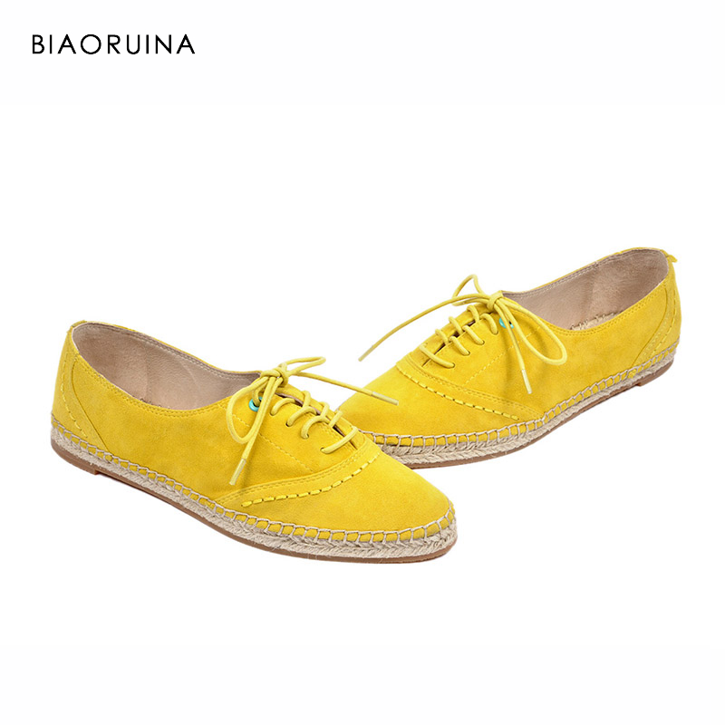 BIAORUINA 8 Color Brand New Women Handmade Hemp Shoes Woman Chic Oxford Shoes Lace Up Shoes