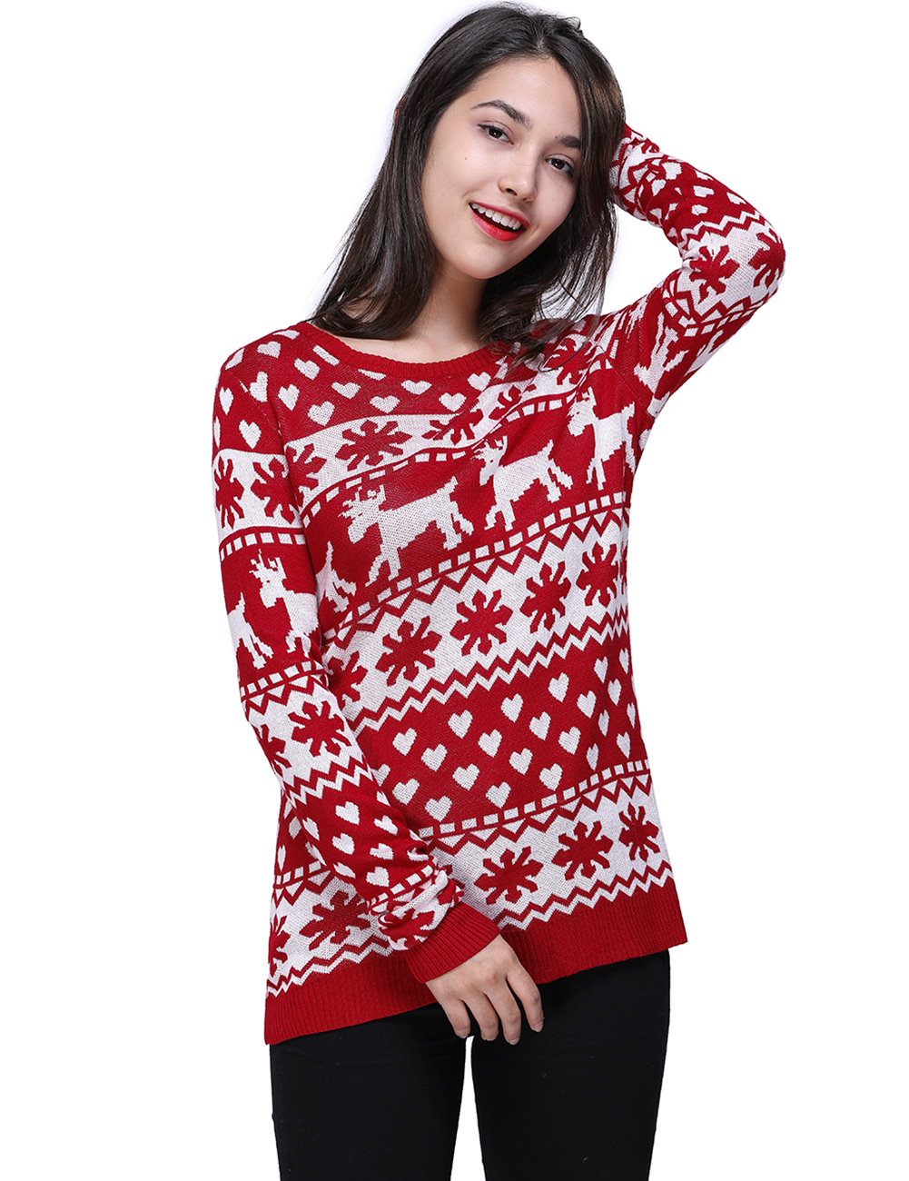 Women Snow Christmas Clothes Sweater Cotton Red Long Sleeve Pullovers Sweater