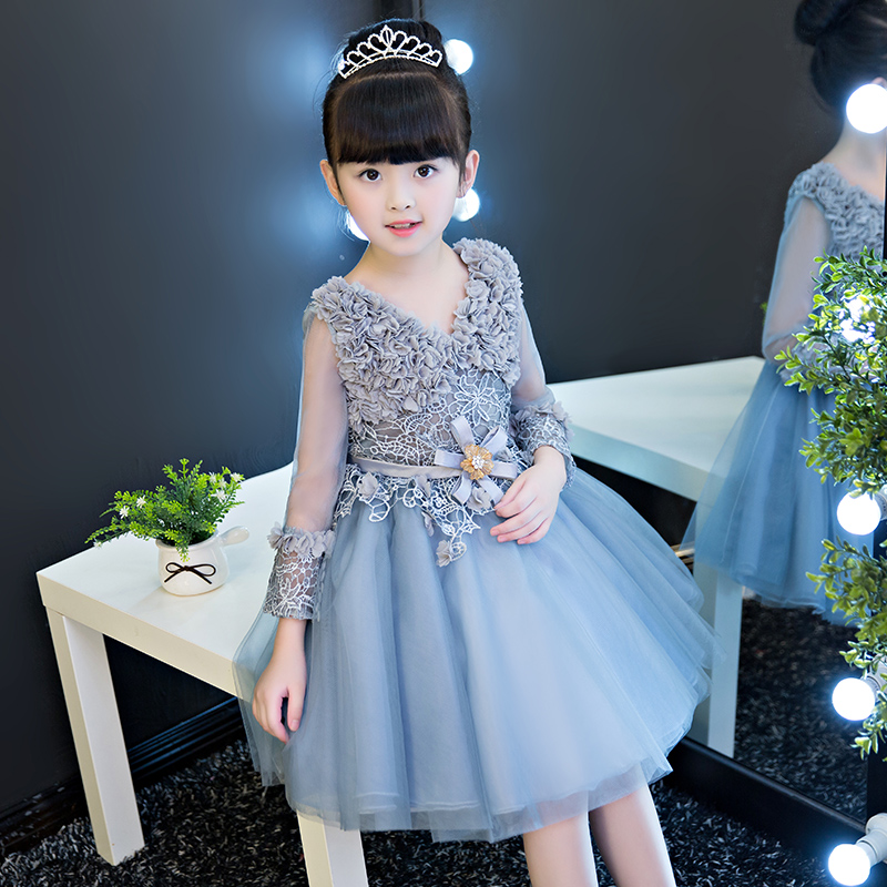 2017 Hot-Sales Fashion Children Girls Jacquard Lace Princess Dress Kids Babies Elegant Birthday Wedding Grey White Color Dress 2017 new high quality girls children white color princess dress kids baby birthday wedding party lace dress with bow knot design