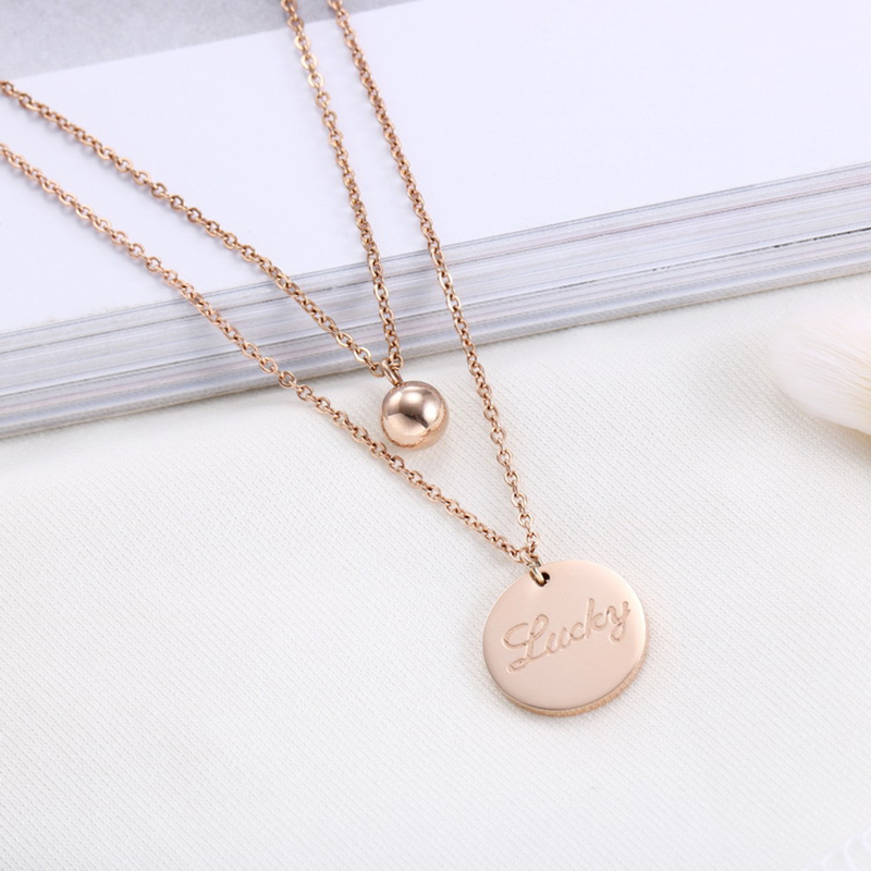 Stainless Steel Women's Necklace Chain Rose Gold Lucky Layered Necklace Charms Jewelry Collier Femme 2019