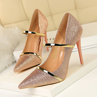 Sexy Pointed Toe Stilettos Shoes For Women Pumps Shallow Sequined Cloth High Heels Shoes For Ladies Black Wedding Shoes Bride