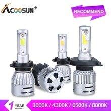 AcooSun светодио дный H4 H7 светодио дный фар автомобиля луковицы 3000 К 4300 К 6500 К 8000 К 12 В 8000LM H1 H11 HB3 9006 HB4 9005 72 Вт удара светодио дный автомобиля Bombillas