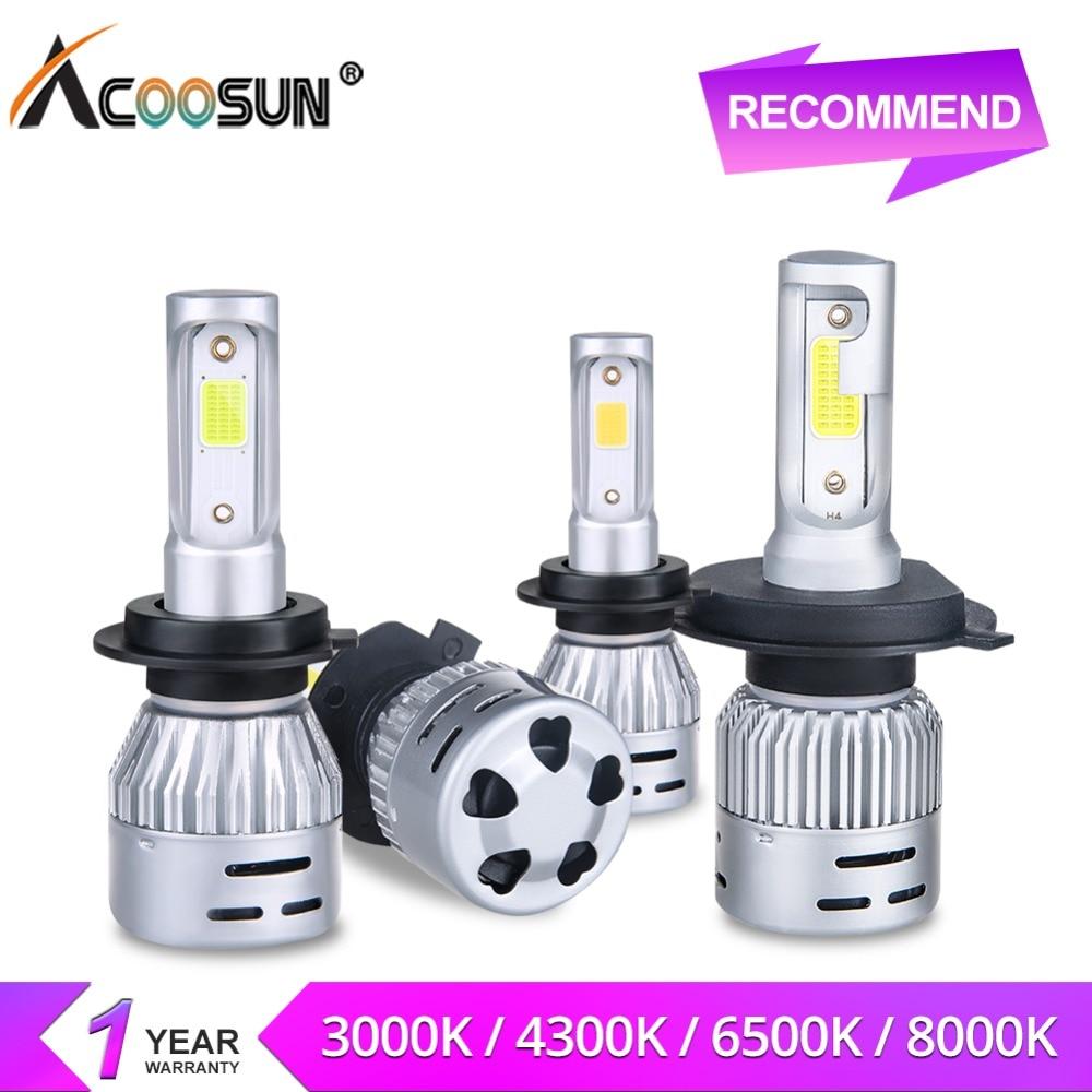 AcooSun LED H4 H7 LED Car Headlight Bulbs 3000K 4300K 6500K 8000K 12V 8000LM H1 H11 HB3 9006 HB4 9005 72W COB LED Car Bombillas