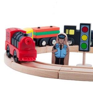 Image 2 - Połączenie magnetycznego elektrycznego pociągu lokomotywy drewniane akcesoria torowe kompatybilne z BRIO i główną marką kolei torowej