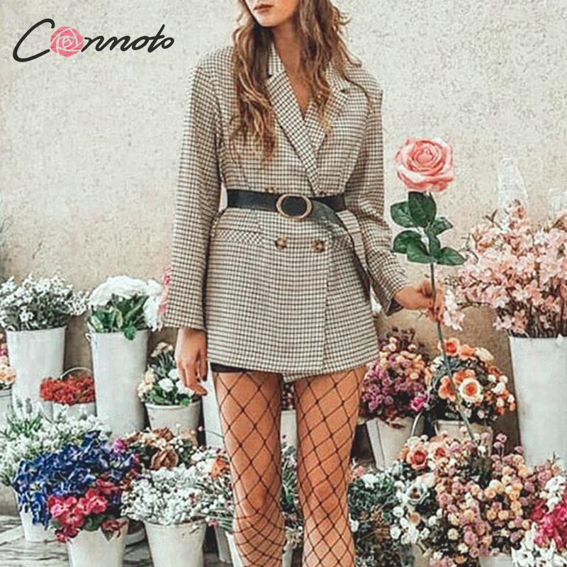 Conmoto 2019 Autumn Winter New Blazer Coat Casual Coat Women High Fashion Loose Oversize Plaid Turn Down Collar Blazer