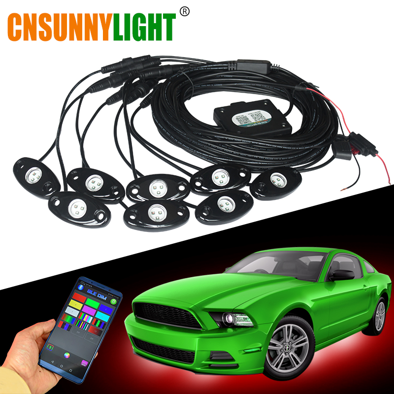 CNSUNNYLIGHT Car RGB LED Rock Lights with Bluetooth Controller Multicolor Neon LED Light Kit for Music Sound Flashing LampCNSUNNYLIGHT Car RGB LED Rock Lights with Bluetooth Controller Multicolor Neon LED Light Kit for Music Sound Flashing Lamp