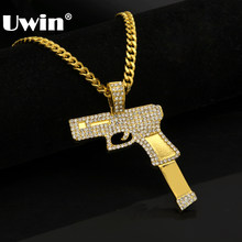 American Style Big Size Rifle Model Hand Gun Pendant Necklace With Bright Iced out Rhinestones Hip hop Fashion Items Wholesale(China)