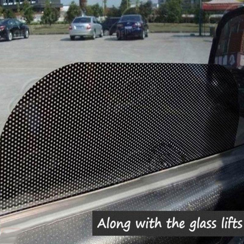 2pc Perforated Car Window Fly Eye Headlight Vinyl Wrap Film Vision Mesh Tint PVC|Windshield Sunshades| |  - title=