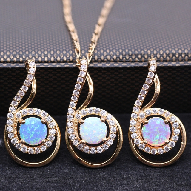 Luxury Jewelry Necklace Pendant Round White Bule Pink Fire Opal&AAA Zircon Gold Plated Pendant For Gift 7 Style