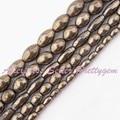 """Forma Oval Pirita Natural Gem Stone Beads Strand 15 """"4x6,6x8,8x10mm Para DIY colar Pulseira Jóias Fazendo Frete Grátis"""