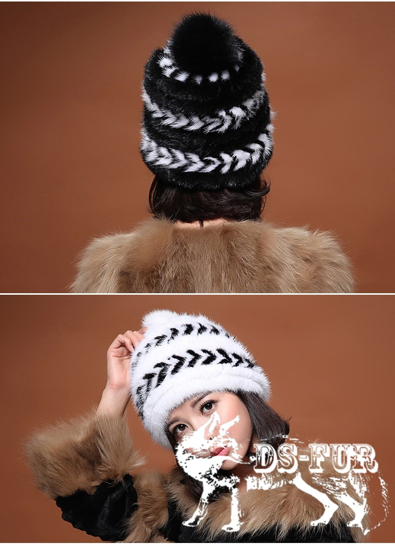 Real mink fur hat double arrow horizontal stripes 04