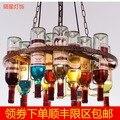 Подвесной светильник в стиле ретро, подвесной светильник в виде бутылки вина, светодиодный потолочный железный подвесной светильник E27 све...