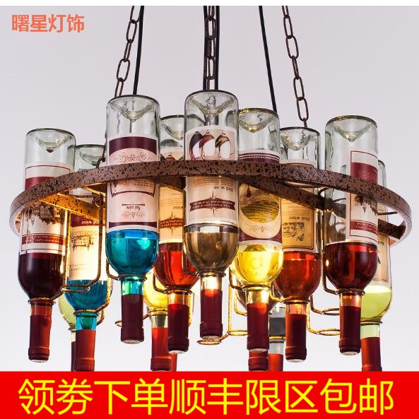 Loft retro Hanging Wine Bottle led ceiling iron Pendant Lamps E27 LED pendant lights for living room bar restaurant Kitchen home loft style vintage pendant lamp iron industrial retro pendant lamps restaurant bar counter hanging chandeliers cafe room