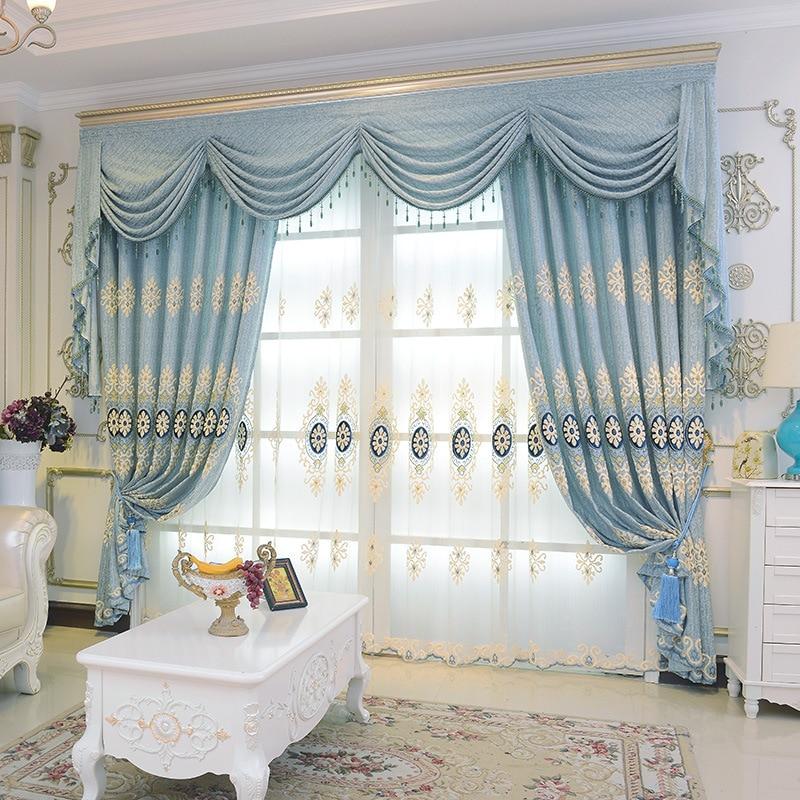 de lujo azul cortinas del dormitorio moderno europeo nueva ventana plana bordado cortinas cortinas para