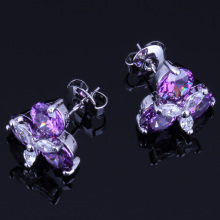 Resplendent Flower Purple Cubic Zirconia White CZ 925 Sterling Silver Stud Earrings For Women V0172