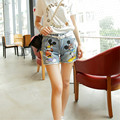 2017 Korean Newly Funny Mouse Cartoon Printed Women Shorts Plus Size Holes Summer Shorts Casual Loose Denim Shorts 41044