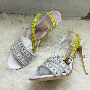 Image 2 - Summer Unique Design Ruler Cross High Heel Sandals Charming Ankle Straps Rulers High Heel Sandals Sexy Formal Dress Shoes