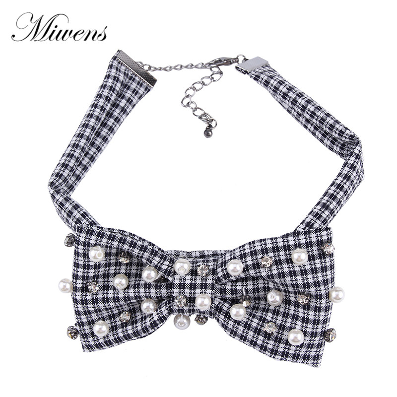 Miwens Classic Pearl Grid Bowknot Necklace Fashion Elegant Gorgeous Statement Choker Crystal Jewelry Accessories For Women 5981