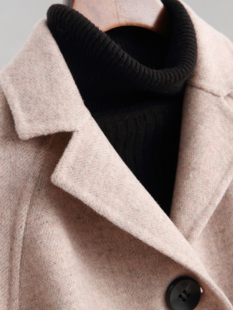 Ayunsue Femelle De Manteaux Longue Femmes Style Vestes Pardessus Yq1624 D'hiver 2018 Coréenne Manteau Beige rose 38017 Printemps Automne Pur Laine rfrAq4w