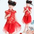 Moda NOVO estilo Chinês tradicional cheongsam traje vestido meninas tang terno qipao vestido das meninas da princesa festa vestido de desempenho