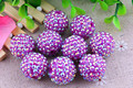 Neon Dark Purple Ab Wholesales  AAA Quality 20mm Chunky 100pcs/lot  Resin Rhinestone Ball  beads for Kids Girl Necklace Jewelry