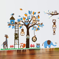 Owl Monkey Squirrel Giraffe Tree Tree Wall Stickers Nursery Children S Room Cartoon Removable Mural Vinyl