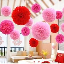 5 個 20 センチメートルティッシュペーパーポンポン花花輪結婚式の装飾 Diy の紙の花ボールベビーシャワーの誕生日パーティーの装飾