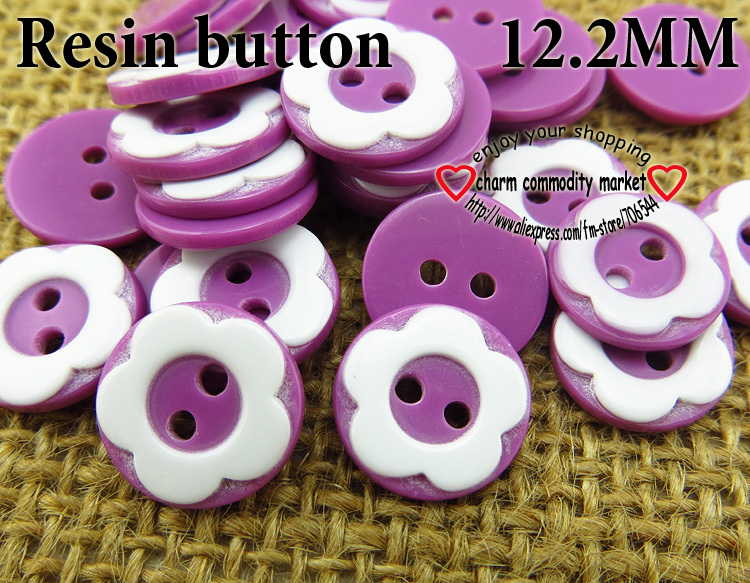 200PCS 12.2MM purple flower shape Dyed RESIN buttons coat boots sewing clothes accessories R-134-8