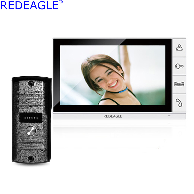 REDEAGLE Home 9 inch TFT LCD Monitor Video Door phone Intercom System with 940nm Night Vision Outdoor Call Security Camera brand new wired 9 inch lcd tft video intercom door phone system night vision outdoor camera two white screens free shipping