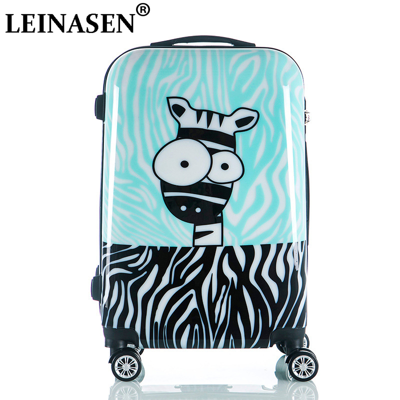 Cute Cartoon Children Rolling Luggage Spinner Suitcase Wheels Students Cabin Trolley 20/24 Inch Zebra Pattern Travel Bag