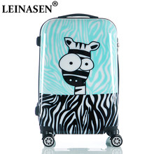 Cute Cartoon Children Rolling Luggage Spinner Suitcase Wheels Students Cabin Trolley 20/24 inch zebra pattern Travel Bag(China)