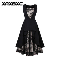XAXBXC 2017 Autumn Girl Vestido Patchwork Zebra Stripe Button 1950s Vintage Swing Women Shirt Dress Evening
