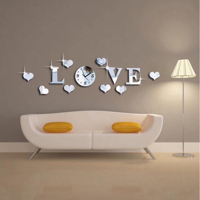 New arrival Mirror Wall Clock LOVE 3d Wall Stickers Home Decor Europe Acrylic Clocks DIY Home Room Art Mural Removable Poster