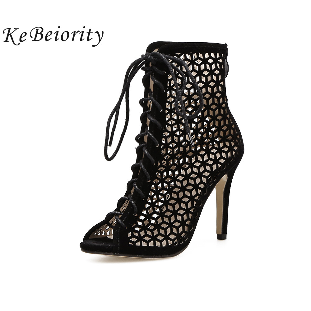 KEBEIORITY Fashion High Heel Boots Women Open Toe Black Ankle Boots Spring Summer Shoes Cut-Out Sexy Boots Party Shoes 2018 women sexy bling bling open toe lace up glitter embellished gladiator ankle boots cut out mix color sequined high heel boots