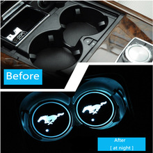 7 Colors LED Light Auto-sensing Turn on Car Coaster USB Rechargeable Cup Holder Bottom Pad Anti-slip Mat Lamp Auto Cover