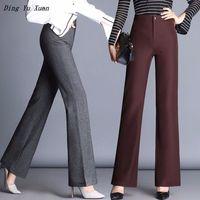 Plus Size Ladies Office Flare Pants High Waist Women Regular Fit Work Pants Black Gray Red Korean Fashion Flared Long Trousers