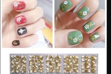 Gold Love Bow Nail Art Sticker Decal Decoration 30PCS  Tips Stickers False Design Manicure Decals Gems Glitter Toe