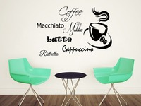 Coffee Wall Decal Coffee Cup Vinyl Sticker Cappuccino Dining Room Decor Art