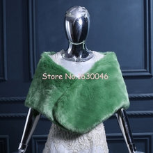 2016 Bridal Pashmina Scarf Green Faux Fur Autumn And Winter Warm Wedding Shawl Evening Party Shawls For Women