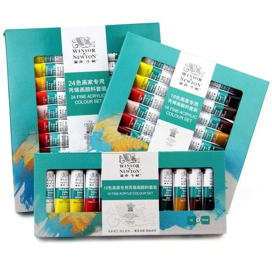 10 ml 24 colores/set Winsor & NEWTON Pinturas acrílicas mano pared pintada pintura textil de arte fuentes aoa020-24