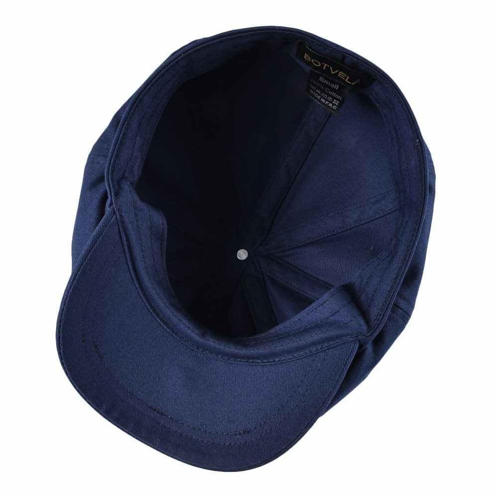 BOTVELA Newsboy หมวกชายผ้าฝ้ายทอลายทแยงน้ำเงินหมวกผู้หญิง Baker Boy หมวก Retro ขนาดใหญ่หมวกชาย boina Apple Beret 003