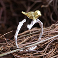 Golden plated bird tree branch new women resizable open ring, medium