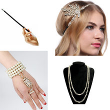 1920s Charleston Party Flapper Girl Rhinestone Headband Pearl Necklace Bracelet Cigarette Holder Great Gatsby Accessories Set(China)